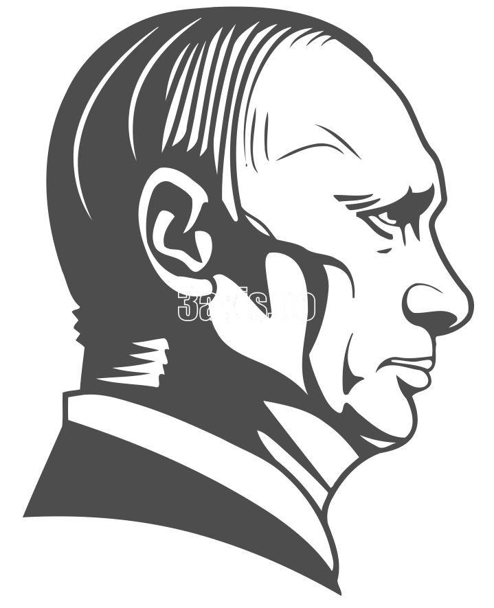 Vladimir Putin Stencil Silhouette Sketch Free Vector