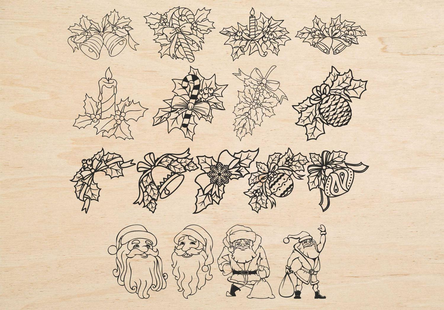 Christmas Decorations Santa Flowers Laser Engraving Free Vector