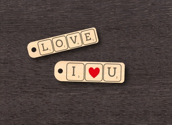 Laser Cut Valentine Day Keychains Keyrings Template Free Vector