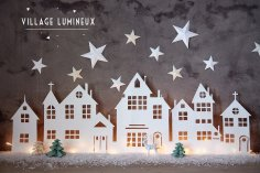 Winter Village Home Decor Laser Cut Idea Free Vector