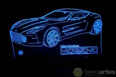 Laser Cut Aston Martin One-77 Sports Car Acrylic 3D Lamp Free Vector
