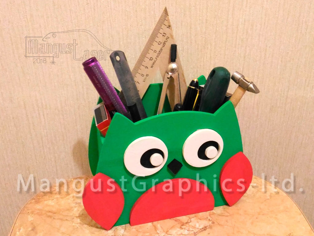 Laser Cut Owl Organizer Pen Holder Free Vector