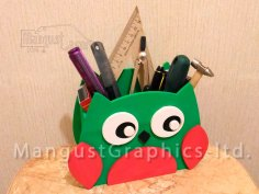 Laser Cut Owl Organizer Pen Holder Free Vector