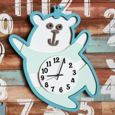 Laser Cut Bear Wall Clock Template Free Vector