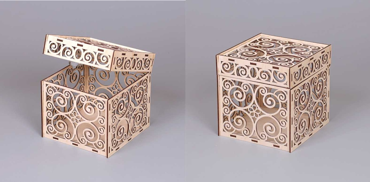 Laser Cut Decorative Box with Lid Free Vector