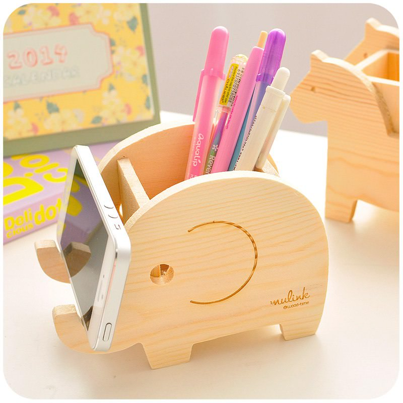 Wood Animal Elephant Phone Holder Pen Pencil Holder Laser Cut Free Vector