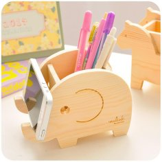 Wood Animal Elephant Phone Holder Pen Pencil Holder Laser Cut Free Vector