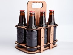 Laser Cut Wooden Six Pack Holder Free Vector