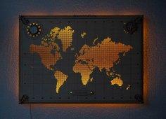 Laser Cut World Map Template Free Vector