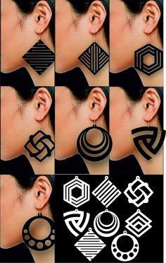 Laser Cut Earring Contemporary Designs Free Vector
