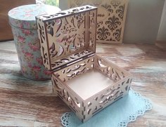 Laser Cut Wooden Jewellery Box Free Vector