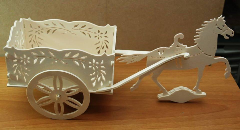 Cart With Horse Laser Cut Scroll Saw Plans PDF File