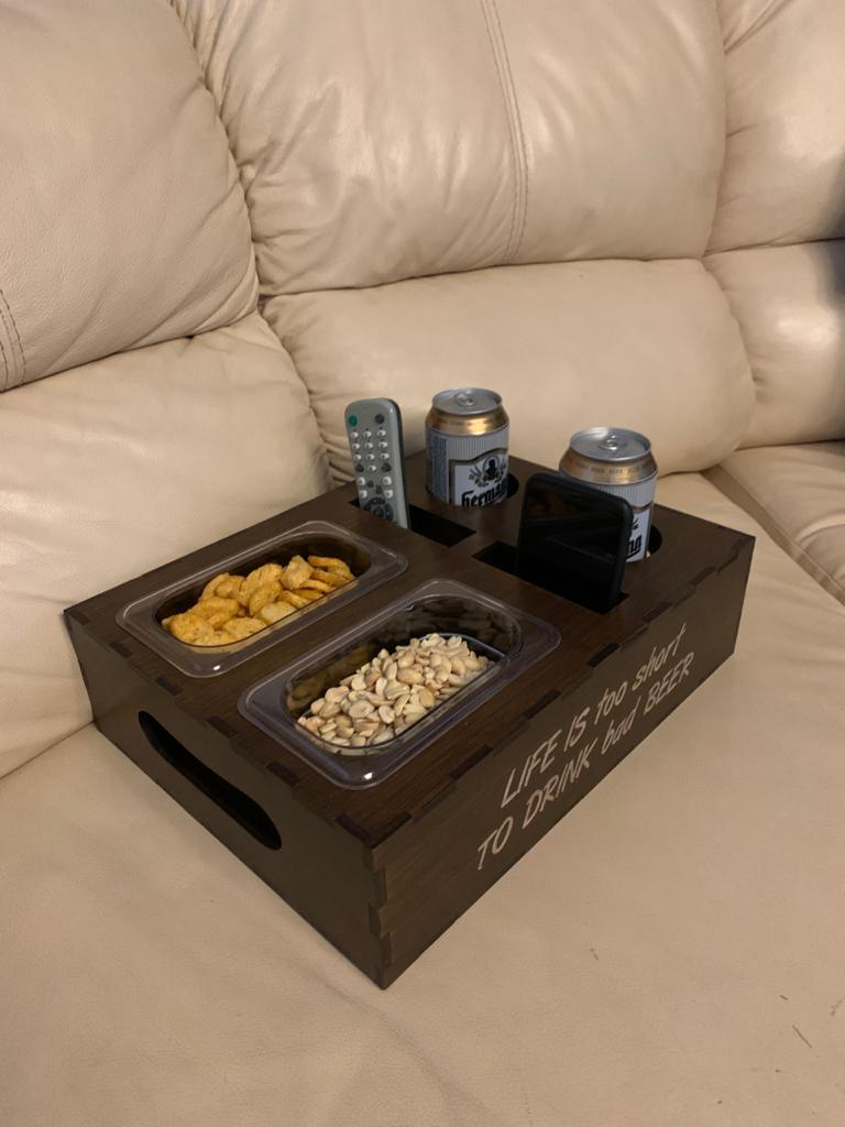 Laser Cut Drink Organizer Tv Remote Mobile Holder Snack Container Free Vector