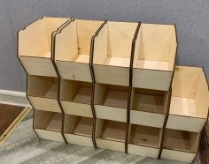 Laser Cut Stackable Storage Bins Boxes 4mm Free Vector
