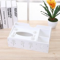 Laser Cut Desk Organizer With Napkin Holder Storage Organizer Tissue Box Pen Holder Free Vector