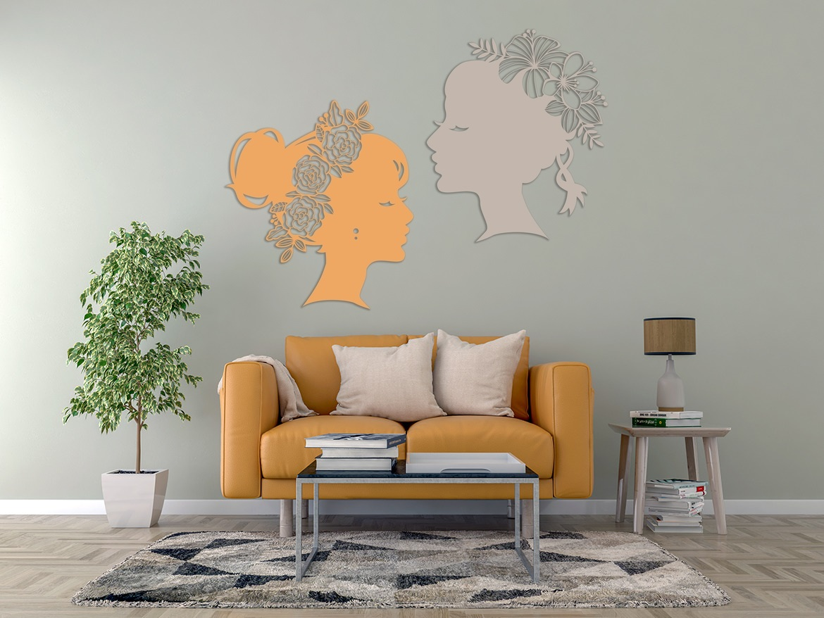 Laser Cut Flower Lady Wall Art Decal Free Vector