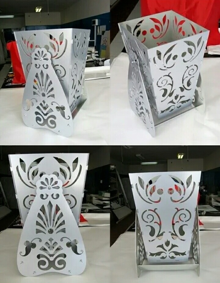 Laser Cut Decorative Vase Flower Box With Stand DXF File