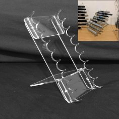 Nine Slot Pen Display Rack Laser Cutting Template DXF File