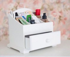 Laser Cut Makeupup Stand With Drawer Free Vector