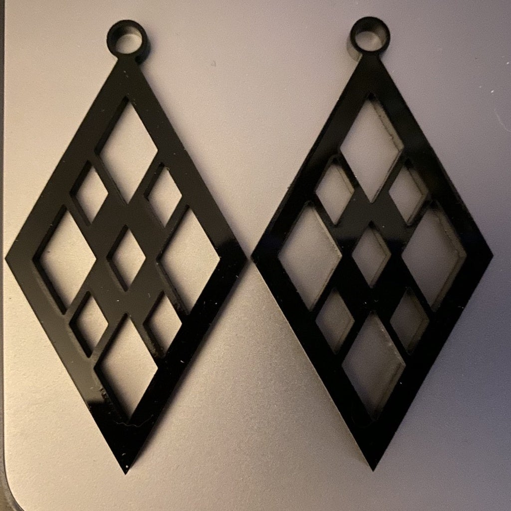 Laser Cut Acrylic Diamond Earrings Template SVG File