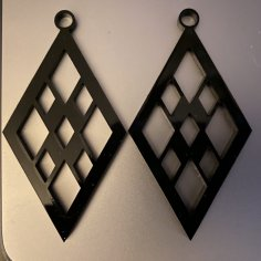 Laser Cut Acrylic Diamond Earrings Template SVG File