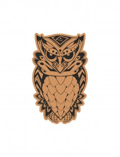 Angry Owl Sitting Laser Cut Engraving Template Free Vector