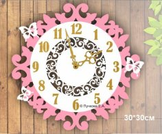 Laser Cut Wooden Decorative Wall Clock Free Vector