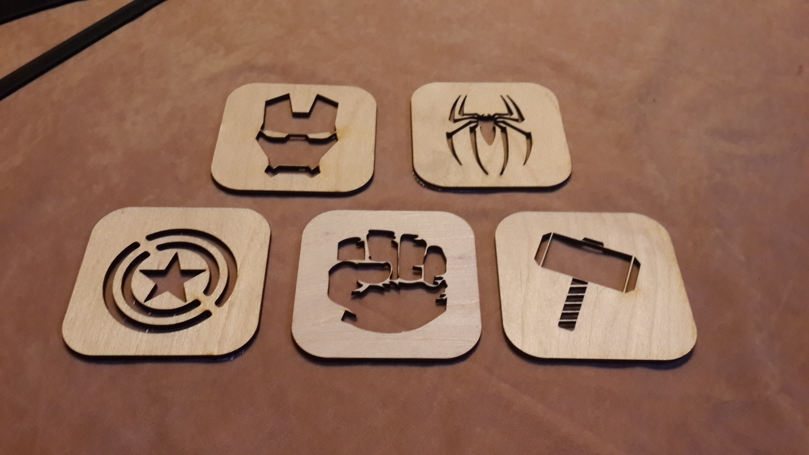 Avengers Coasters Laser Cut Template Free Vector