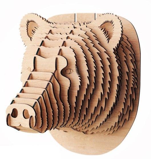 Laser Cut Bear Head 3D Wood Trophy Head Free Vector