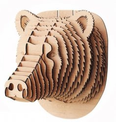Laser Cut Bear Head 3D Wood Trophy Head Free Vector
