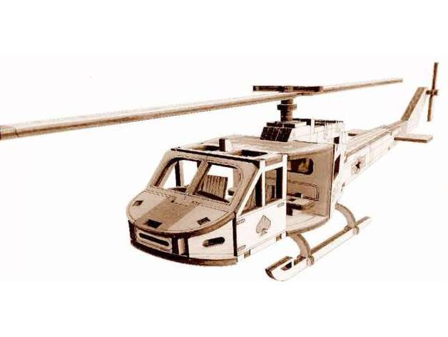 Laser Cut Helicopter Toy Template Free Vector