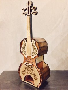 Laser Cut Tea House Violin Stradivari Free Vector