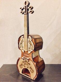 Laser Cut Tea House Violin Stradivari Free Vector