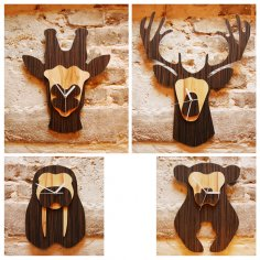 Jungle Animal Heads Shaped Wall Clocks Laser Cut Free Vector
