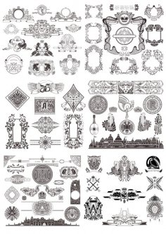 Vintage Decor Elements Set Free Vector