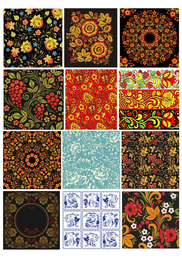 Russian Patterns Set Free Vector