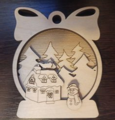 Laser Cut Christmas Decoration Wooden Splicing Ornament Free Vector
