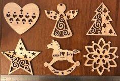 Laser Cut Christmas Tree Toys Wooden Christmas Tree Decor Free Vector