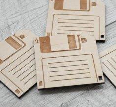 Laser Cut 3.5 Inch Wooden Floppy Disk Coasters SVG File
