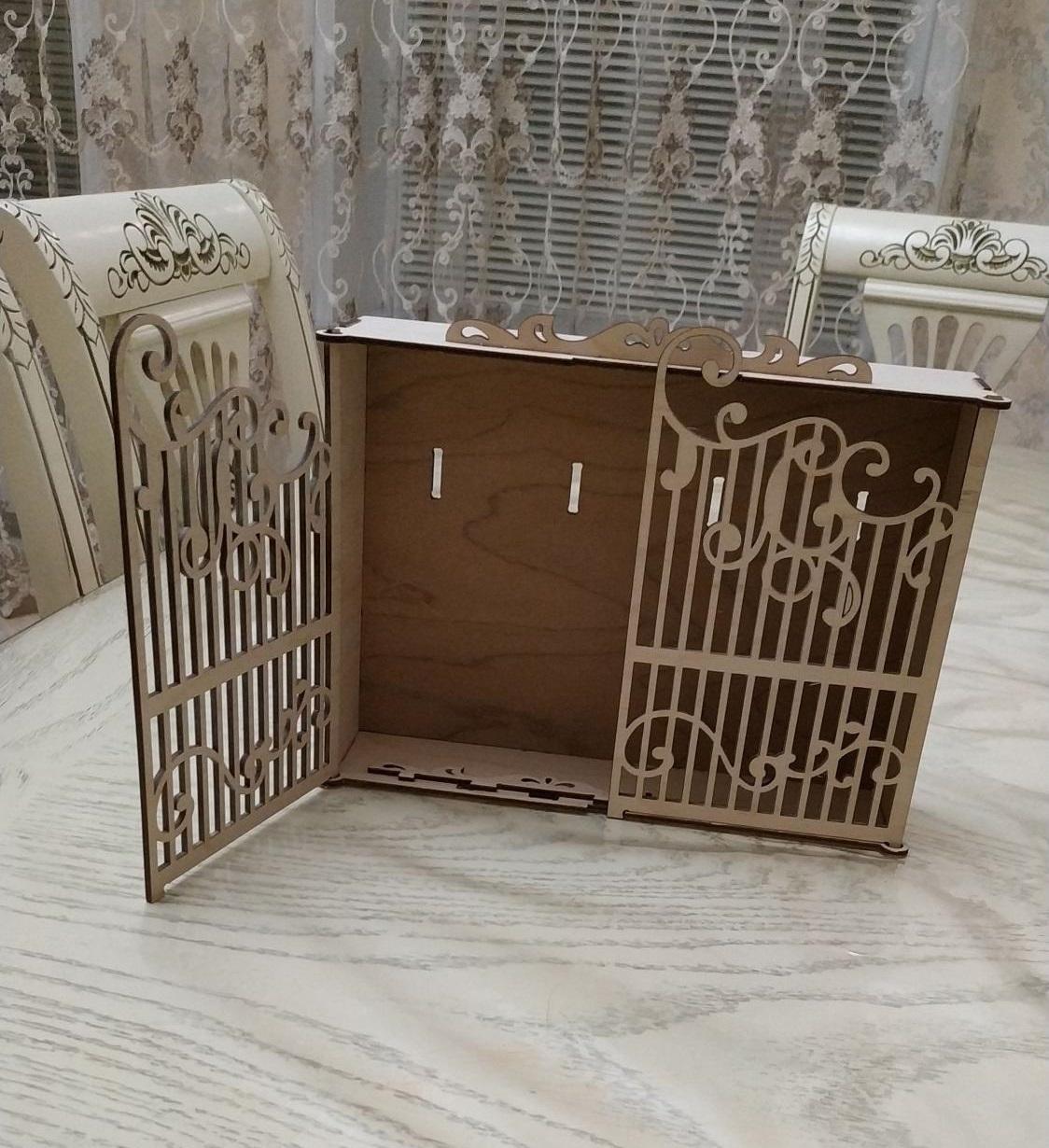 Laser Cut Decorative Wooden Key Cabinet DXF File