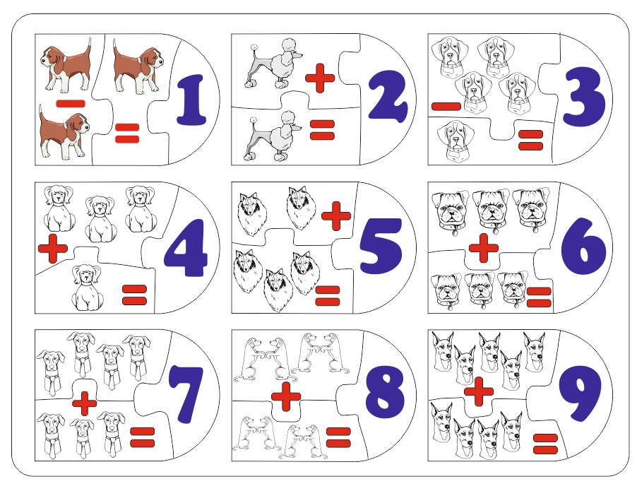 Laser Cut Matching Picture And Number Puzzle Free Vector