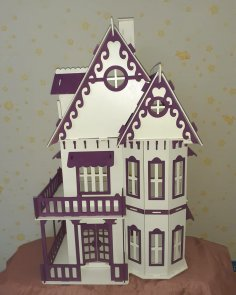 Laser Cut Wooden Toy Villa Doll House Free Vector