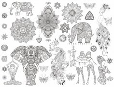 Monochrome Mandalas Ornamental Set Free Vector