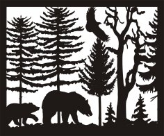 30 X 36 Two Bears Eagle Plasma Art DXF File