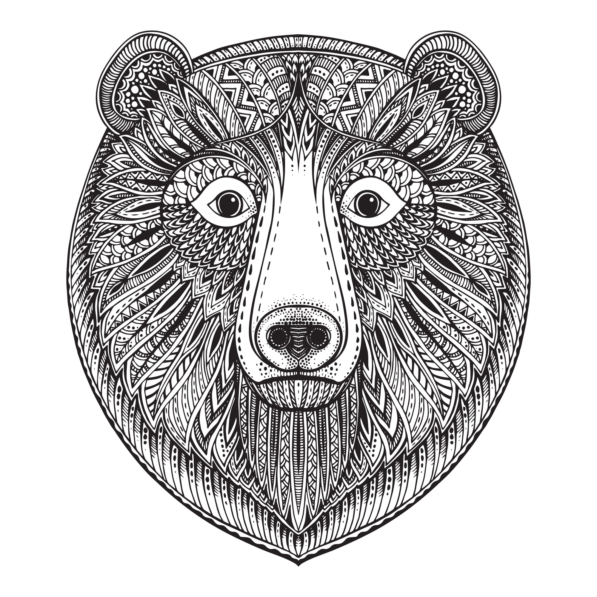 Zentangle Bear Free Vector