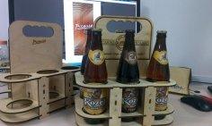 DIY Beer Tote 3D Puzzle Laser Cut Free Vector