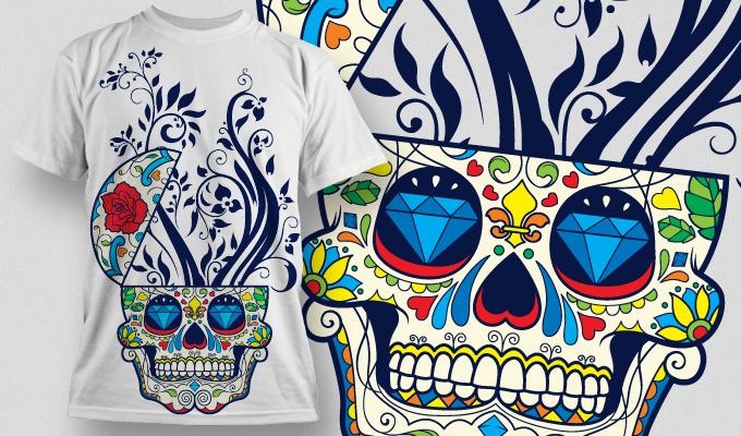 Designious Sugar Skull T shirt Design Free Vector