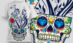 Designious Sugar Skull T shirt Design Free Vector