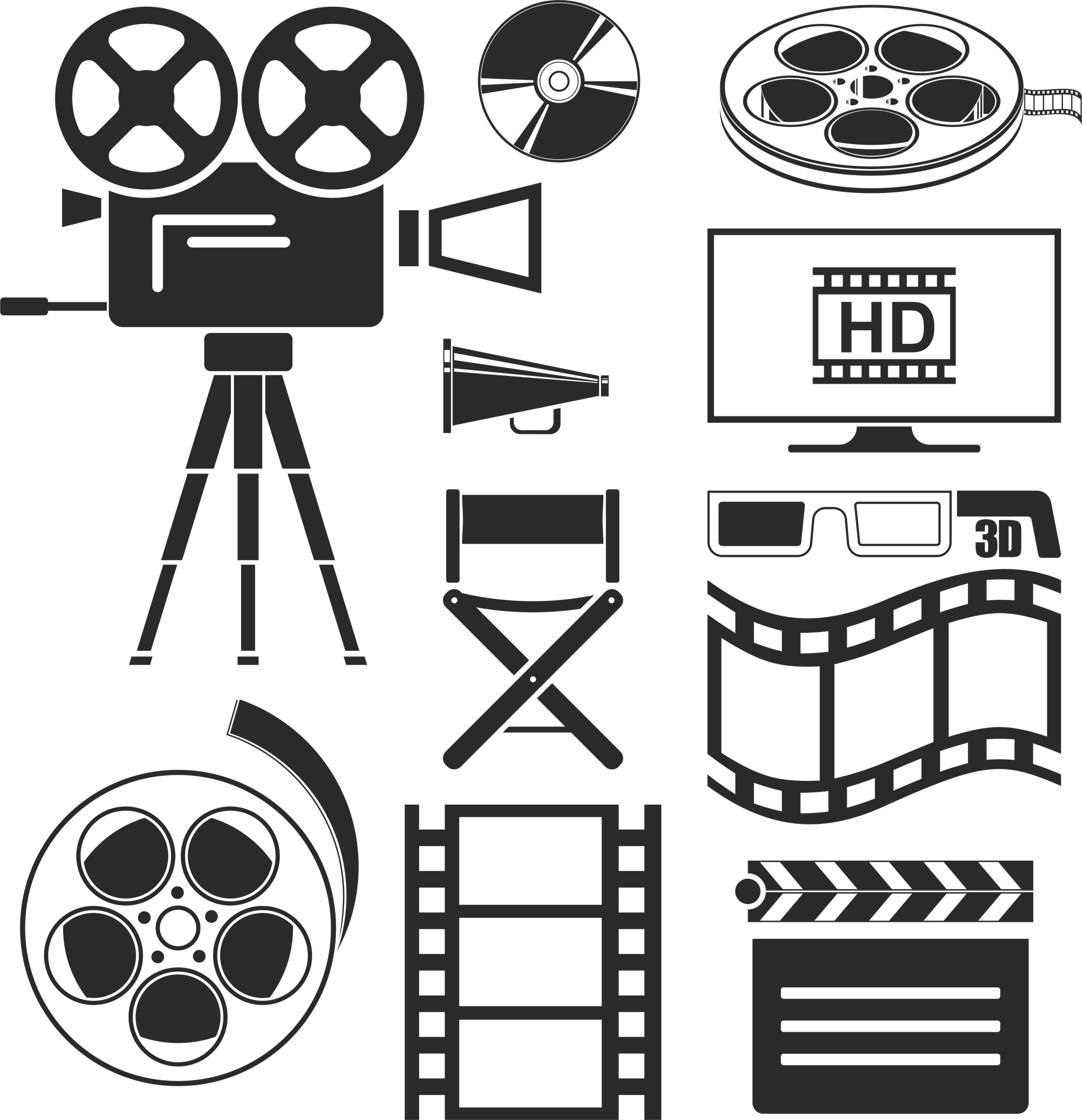 Movie Icons Set Free Vector