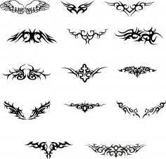 Wings Tattoo Vector set Free Vector